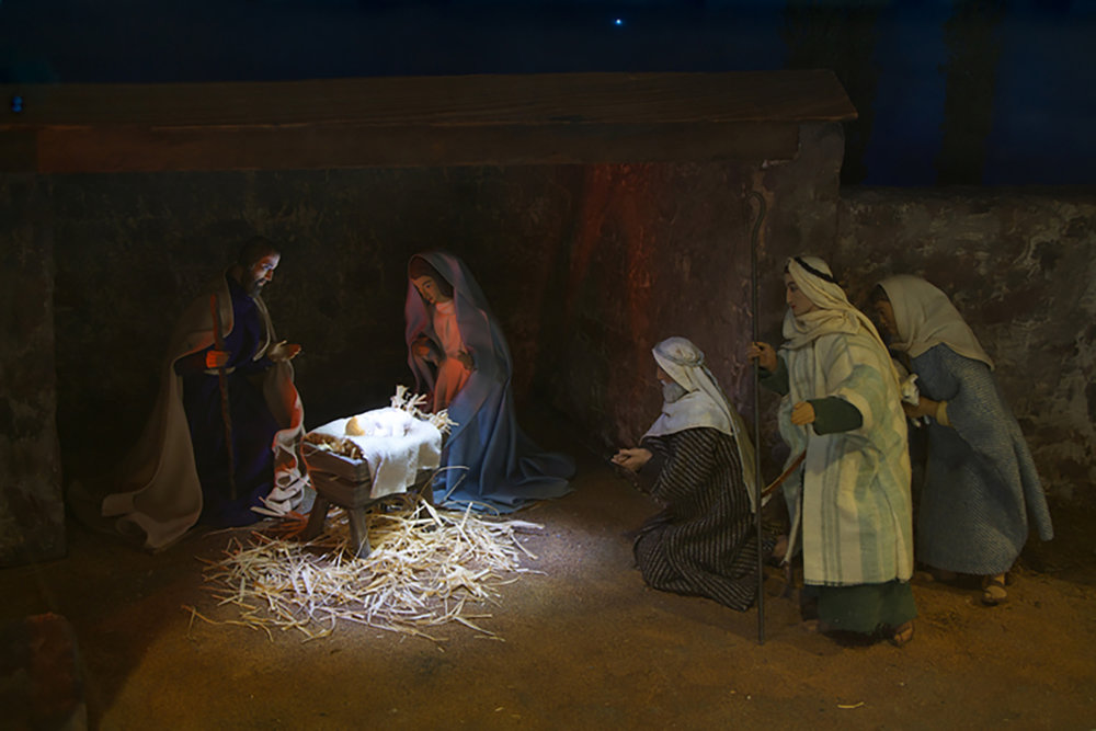 Figure 5: The Christ Child, Mary, Joseph and the shepherds; one of the Nativity scenes from the Eisenhower White House now on exhibit in Gettysburg. Photo: Ed Gyllenhaal.