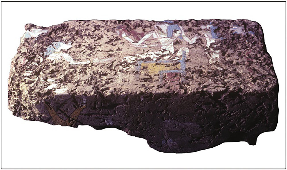 Figure 16: Photograph of the painted mudbrick birth brick discovered at South Abydos, Egypt.