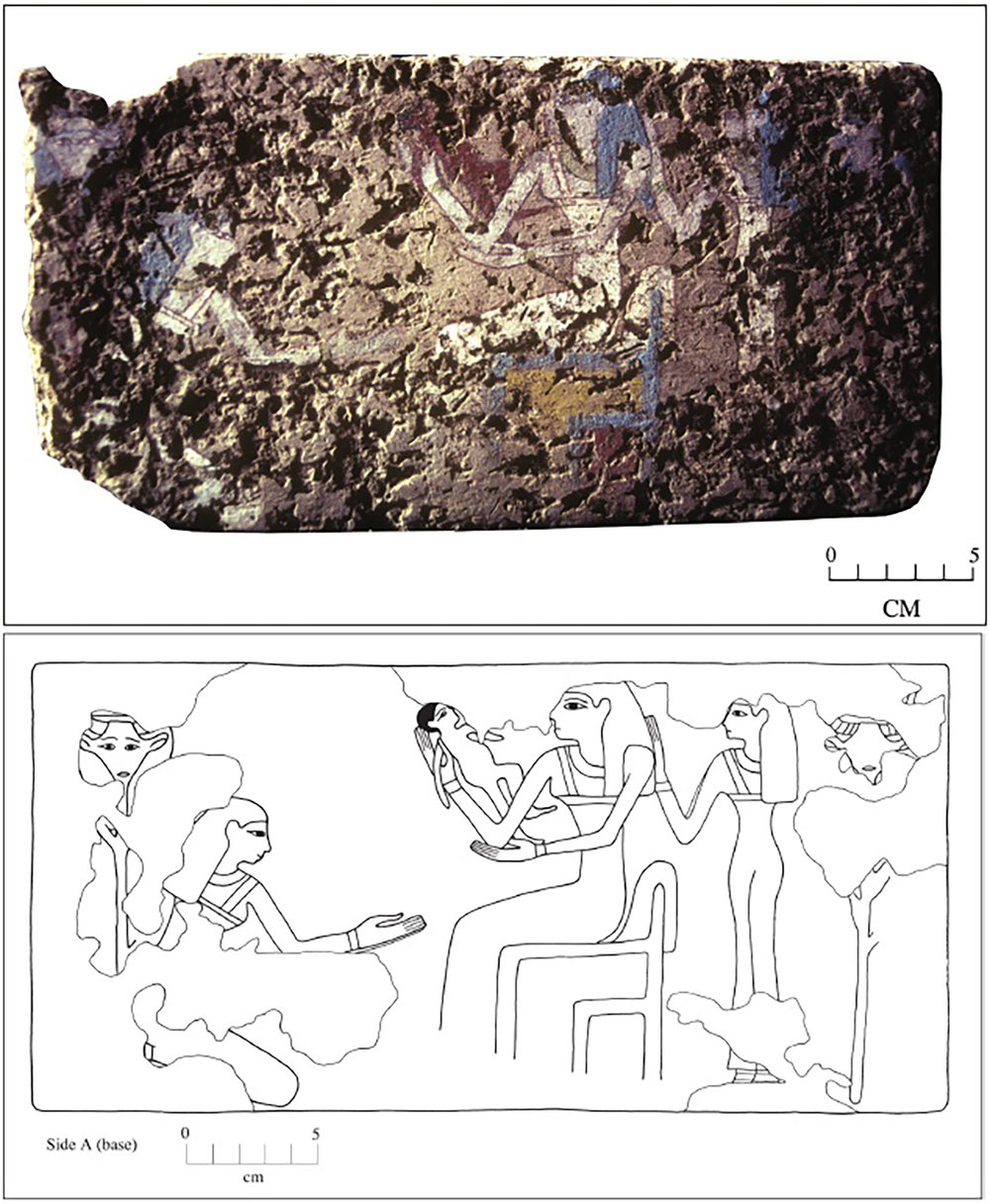 Figure 17: Reconstruction painting of the scene of the mother and newborn baby on the bottom of the brick. Female attendants who likely respresent goddesses flank the seated mother. Hathor-headed staffs frame the scene.
