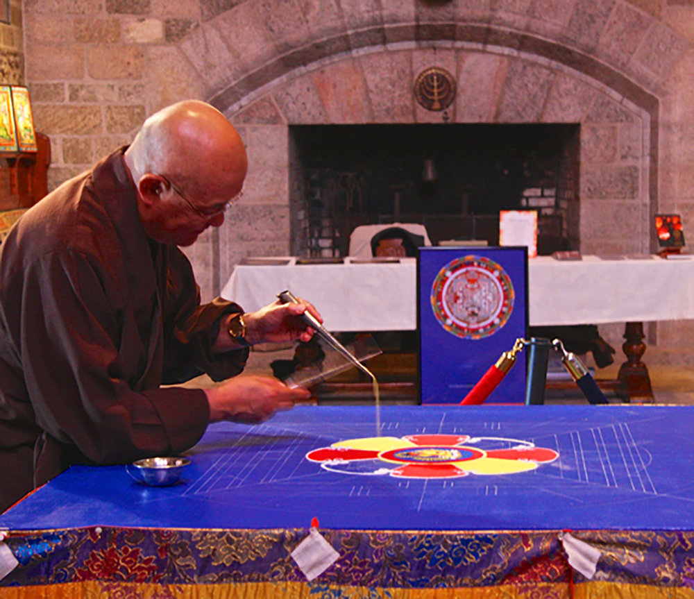 The Venerable Lama Losang Samten Creating a Sand Mandala at Glencairn Museum