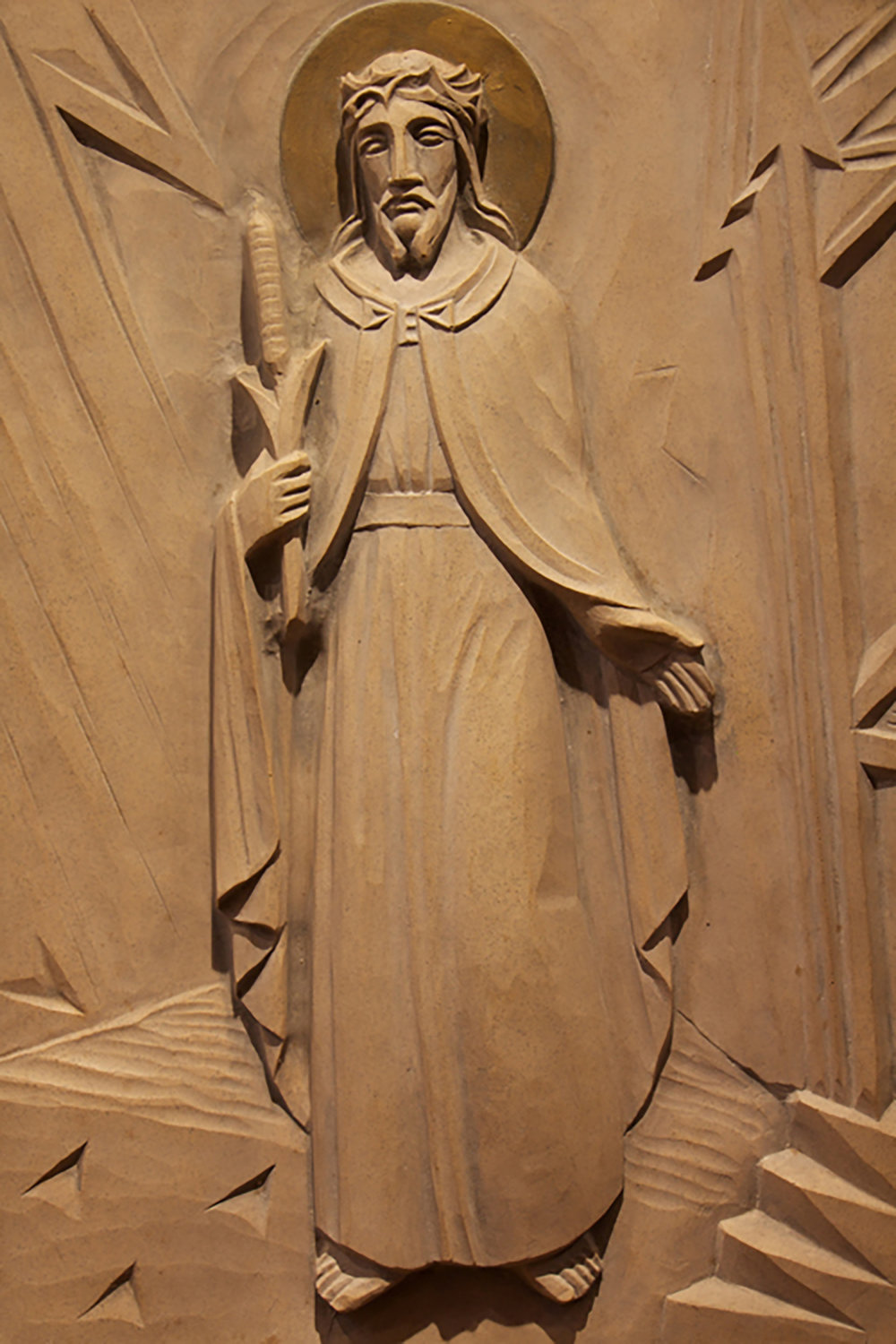 Figure 4: Station I: The Lord's Condemnation to Death; cast stone, Glencairn Museum.