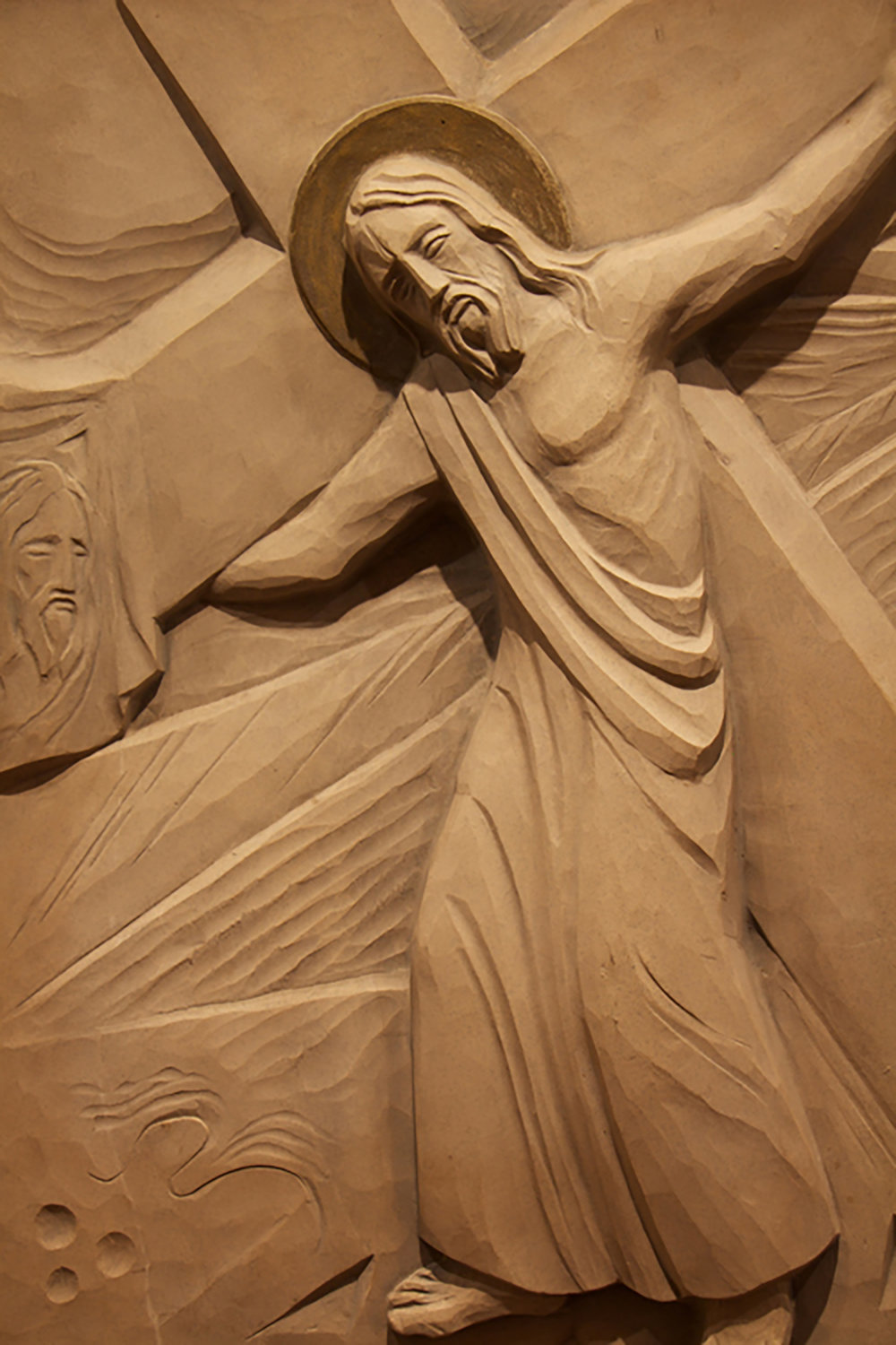 Figure 5: Station VI: Saint Veronica Wiping the Face of Jesus; cast stone, Glencairn Museum.