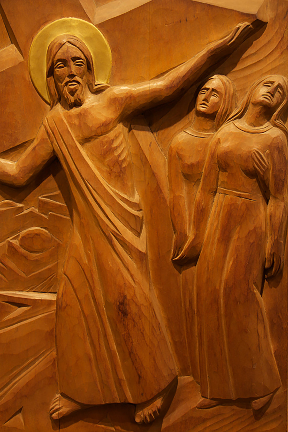 Figure 7: Station VIII: Jesus Meets the Daughters of Jerusalem; carved wood, St. Timothy's Episcopal Church.