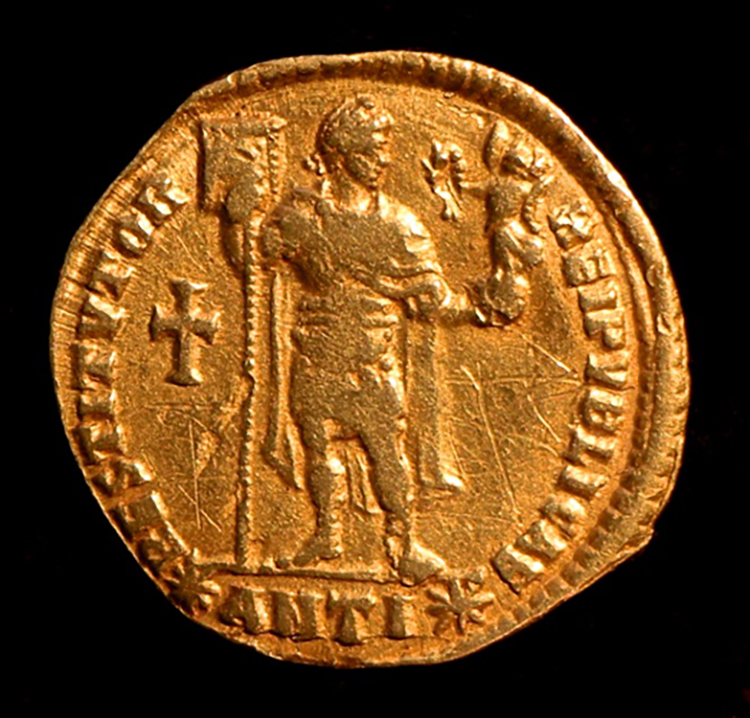 Figure 8: Coin with Valentinian Holding Victoria.