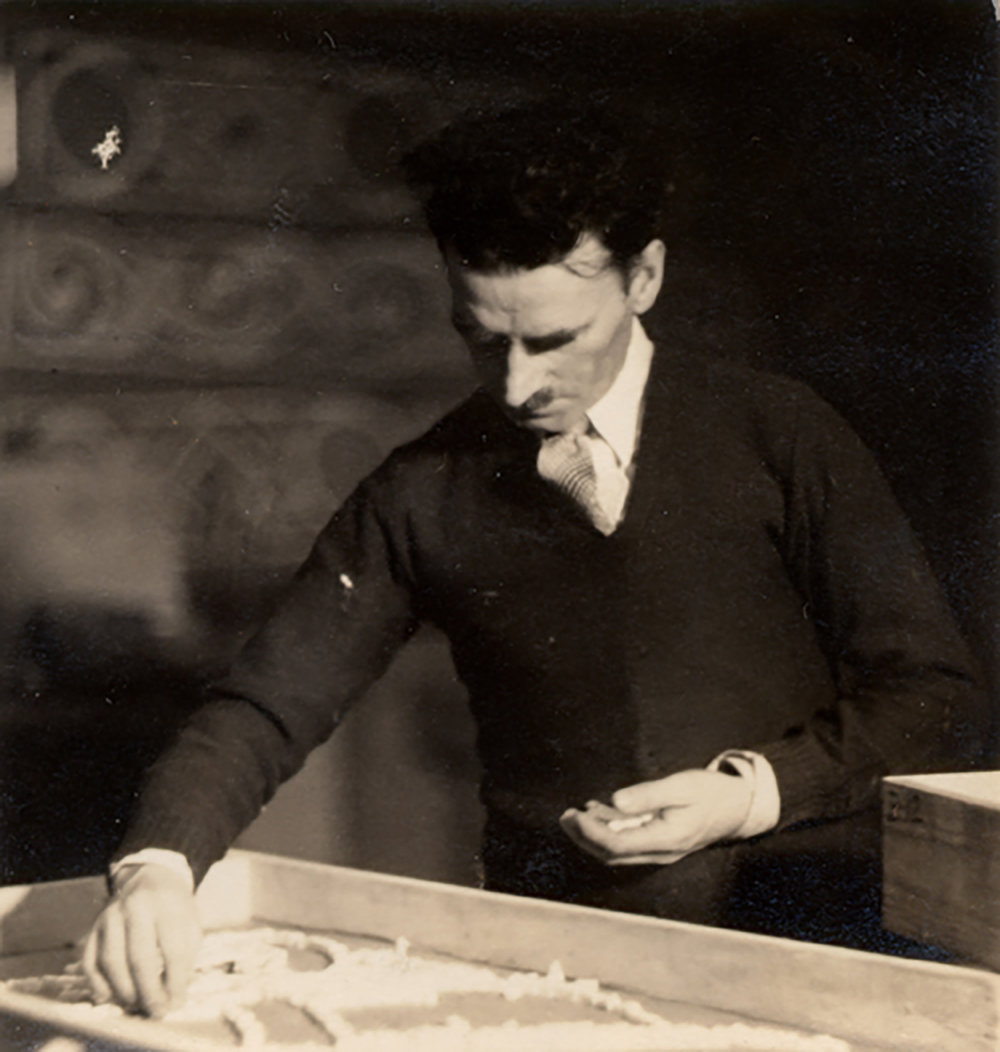 Figure 4: Albert Cullen setting tesserae for a mosaic design.