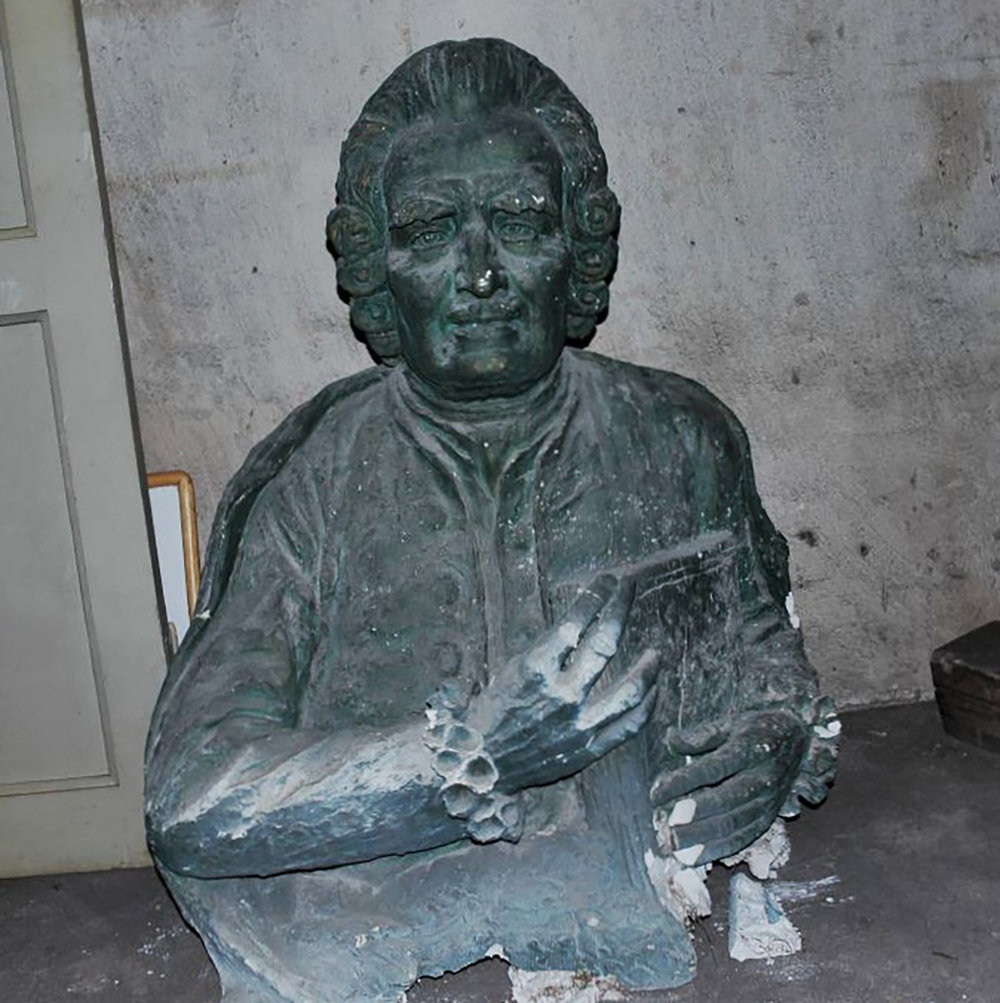 Figure 3: The plaster bust in the attic of Swedenborg Memorial Church, Stockholm.