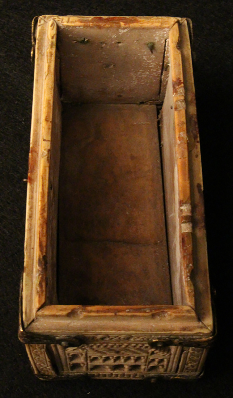 Figure 1: Inside of ivory casket with the lid removed.