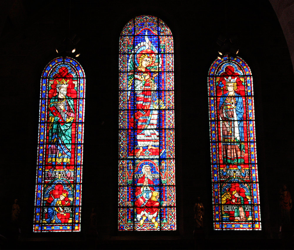 Figure 2: Windows on the north wall: King David, Angel with Censer, King Solomon.