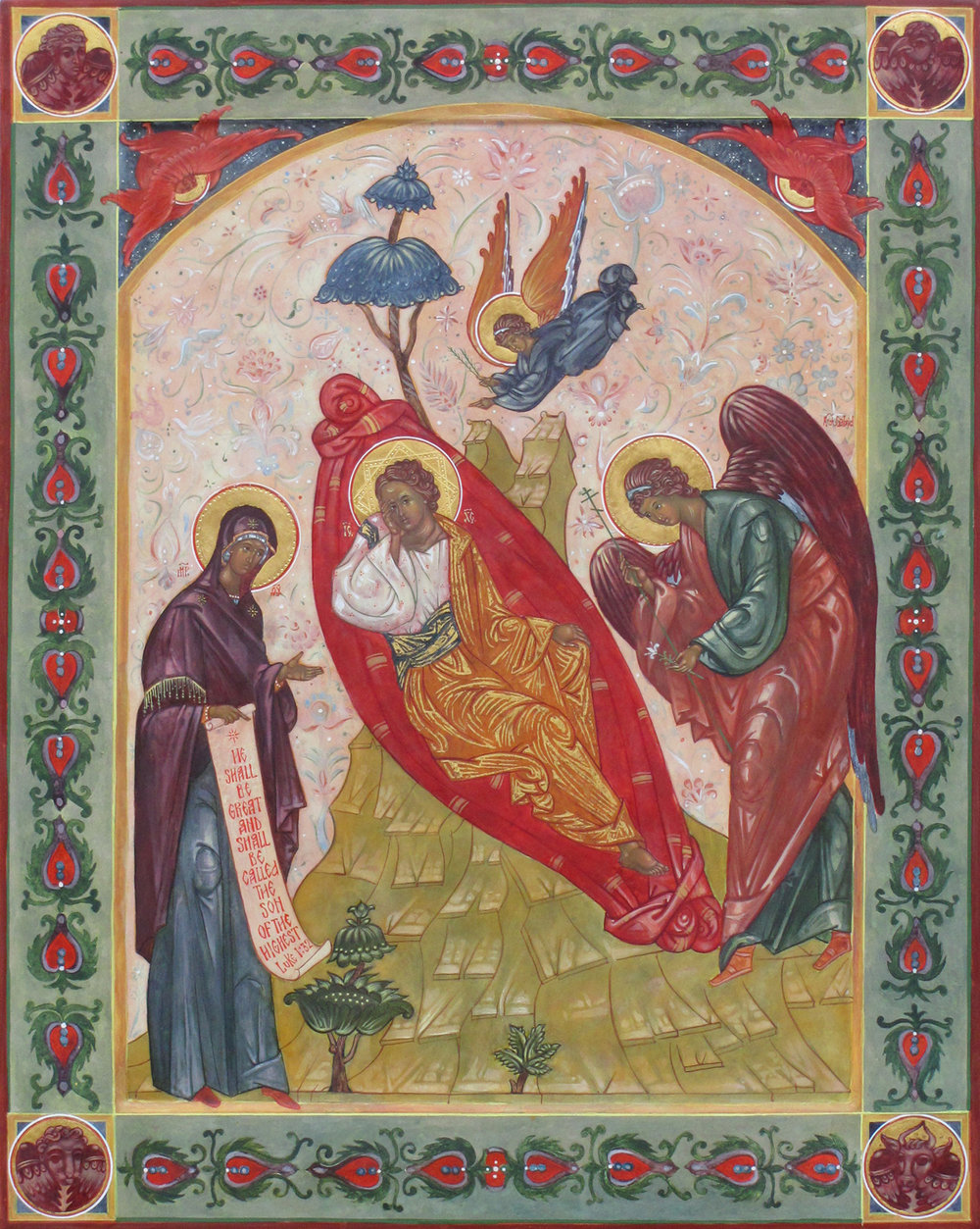 The Unsleeping Eye shows Mary and an angel watching over the sleeping Christ. His eyes are open, signaling His watchfulness over the world even in sleep. In the corners of the icon's raised frame appear the symbols of the four authors of the Gospels. These symbols were common in medieval art, with each author assigned his own winged emblem: Matthew, a man, Mark, a lion, Luke, an ox, and John, an eagle. The icon of the Unsleeping Eye has a long history in Russia.
