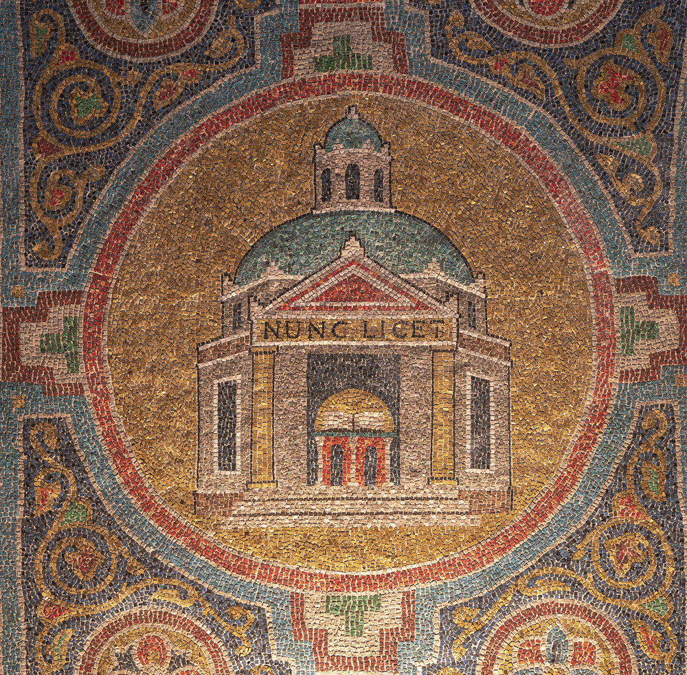 """Figure 4: A temple, bearing an inscription in Latin ( Nunc licet , i.e., """"Now it is Permitted""""), represents the New Christian Church."""
