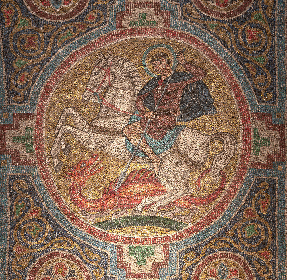 Figure 5: A scene of Michael and the dragon (Book of Revelation 12:7) represents the New Church fighting for truth and against falsity.