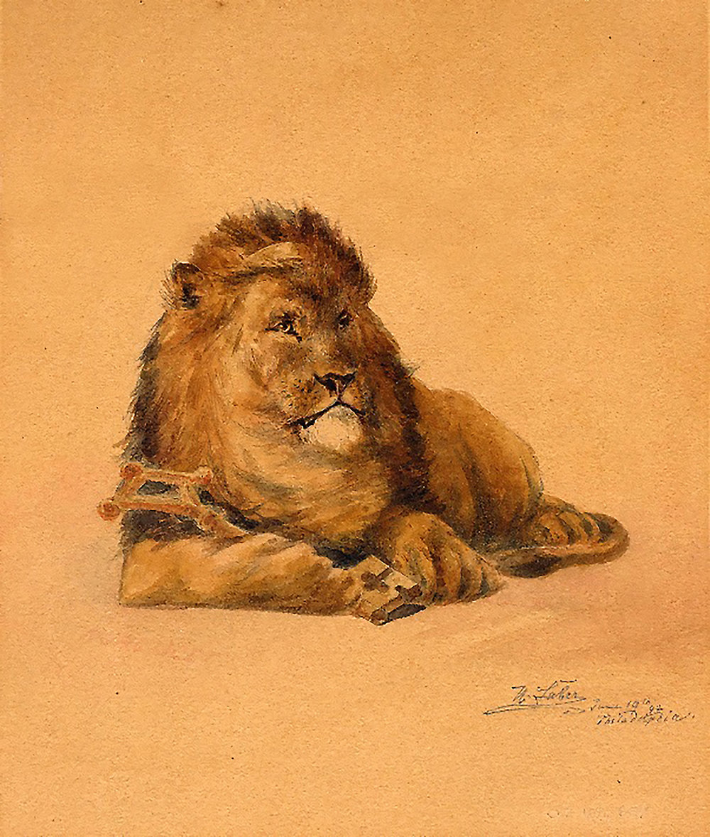 """Figure 9: This painting of the Academy lion, produced by Herman Faber, is signed """"H. Faber, June 19th, '92, Philadelphia."""""""