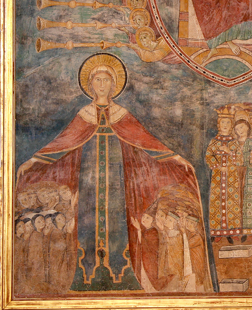 Figure 4. Detail of figure 2:  The Second Coming of Jesus —Mary sheltering resurrected souls beneath her cloak. Photograph by Edwin Herder.