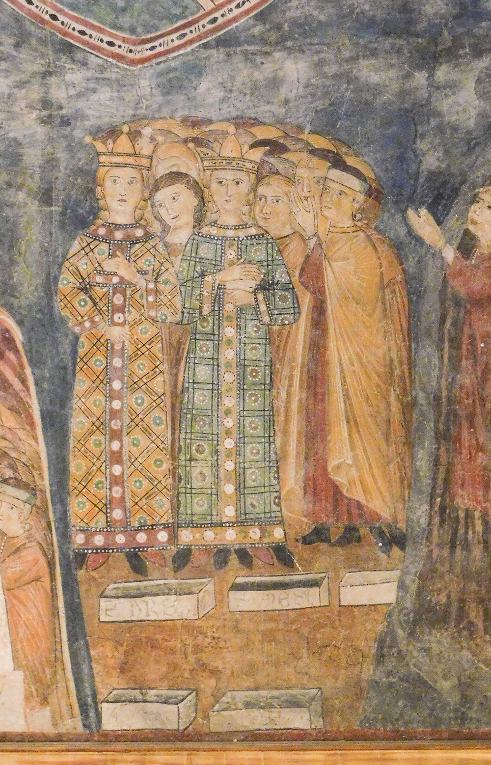 Figure 6. Detail of figure 2:  The Second Coming of Jesus —Saints (Ursula and Agnes?) leading souls to Mary. Photograph by Jonathan Kline.