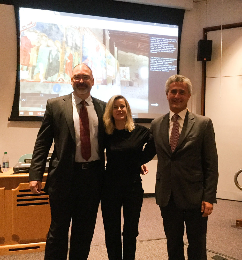 Figure 14. The author with Grazia Maria Fachechi and Tomasso di Carpegna Falconieri, October 2017, following a symposium at Temple University on the frescoes from Santa Maria inter Angelos.