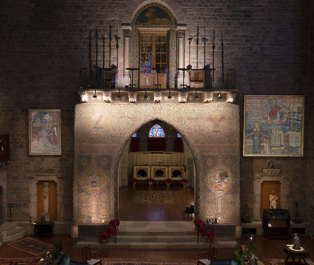 Figure 1: View of Glencairn's Great Hall from the second-floor balcony. The  Second Coming  fresco can be seen to the right of the great arch. The  Annunciation  fresco is to the left of the arch. Photograph by Edwin Herder.
