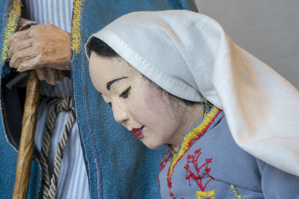 Figure 8: Mary. Detail of Nativity pictured in Figure 5, by Nancy Schnarr-Bruell, 2018.