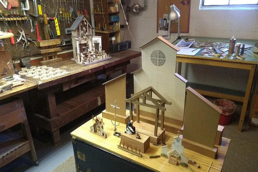 Figure 4: R. Michael Palan's basement workshop with several projects underway.