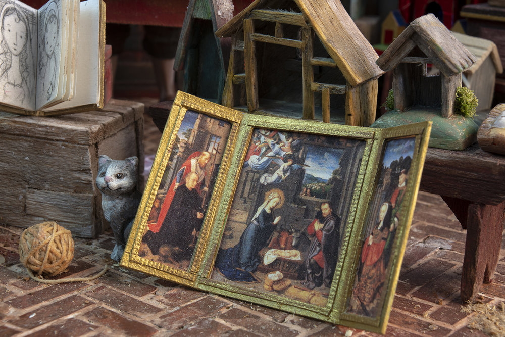 Figure 9: On the floor is a Nativity triptych by Gerard David (ca. 1460-1523), an Early Netherlandish painter.