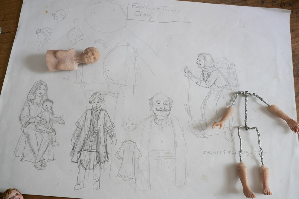 Figure 11: Sketches and Nativity figures in progress.
