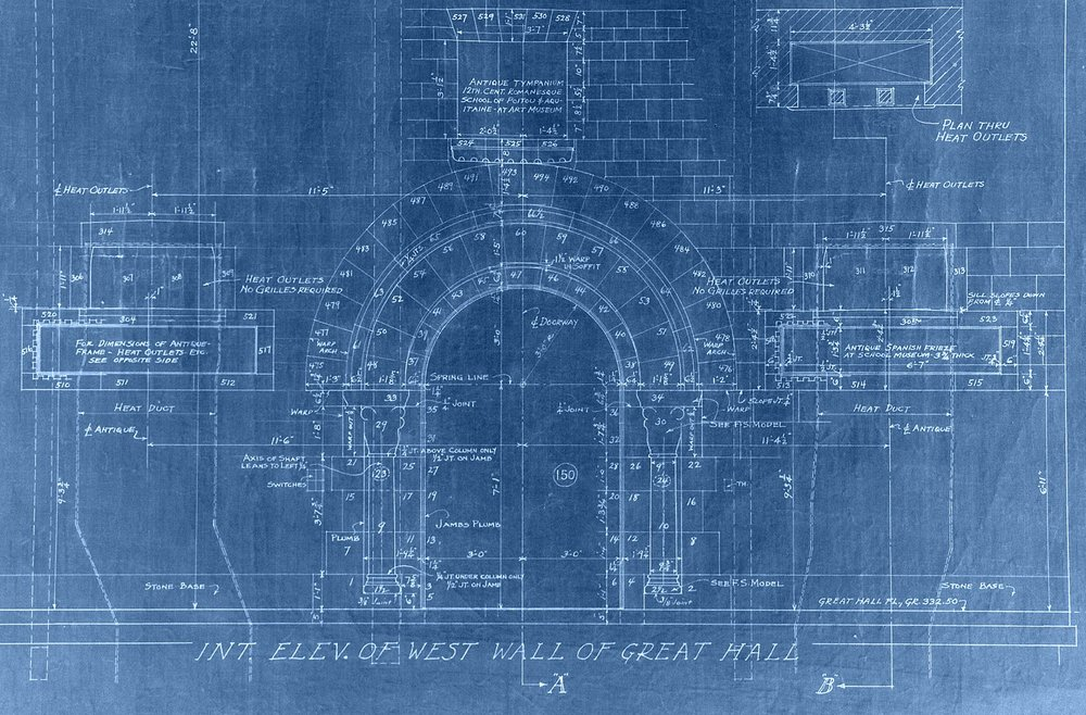 Portion of an elevation drawing for the west wall of Glencairn's Great Hall, dated July 30, 1931 (revised Dec 30, 1931). Note how Raymond Pitcairn's collection of medieval sculpture was designed to be part of the fabric of the building from the very beginning.
