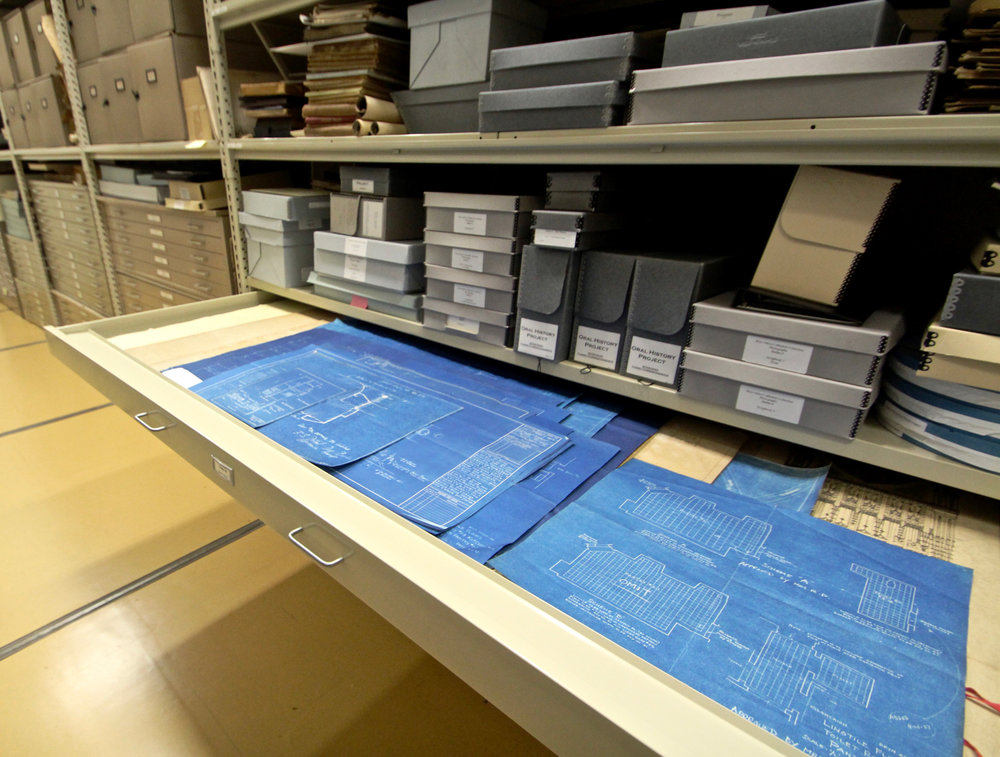 Figure 11: Blueprints for Glencairn in the Glencairn Museum Archives. Photo: Glencairn Museum.