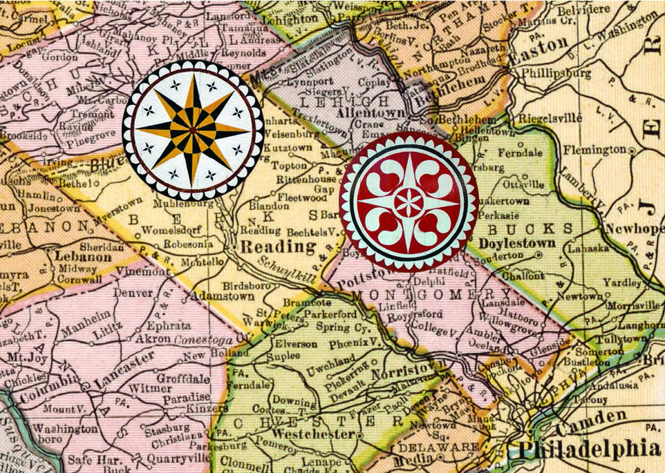 Figure 3: Map of Southeastern Pennsylvania, Courtesy of the Library of Congress. Photos of Stars by Patrick J. Donmoyer. Southeastern Pennsylvania is home to two distinct concentrations of barn decorations, defined by geographical features that separate the region. Star patterns are predominant along the Blue Mountain, part of the Appalachian Mountain Range bordering Berks, Northern Lehigh, and Schuylkill counties. Floral motifs are found throughout the Lehigh Valley, which spans Northampton, Lehigh, Bucks, and Montgomery counties. Barn stars are rarely found west of the Susquehanna, except for traditional wooden applique stars found in Bedford, Somerset, and Washington counties.