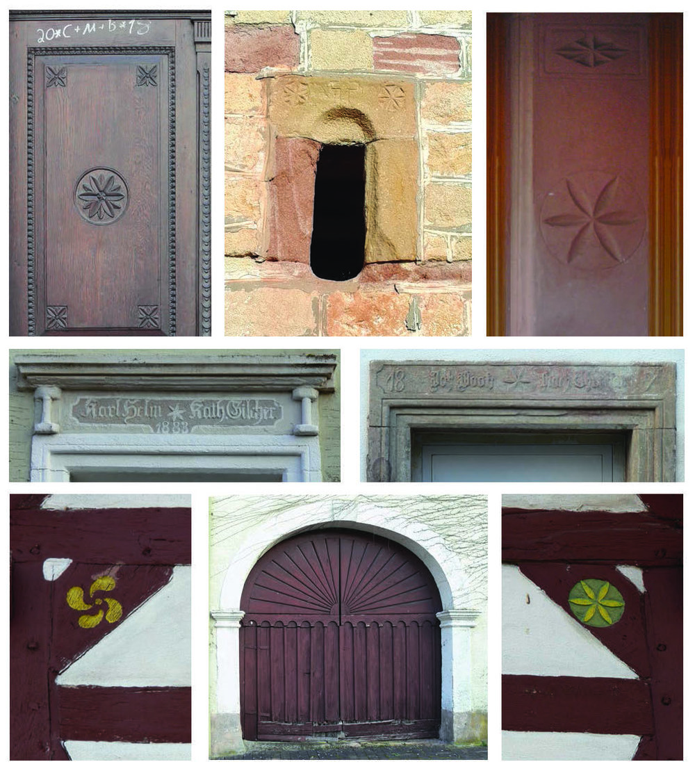 Figure 16: Stars in the Architectural Traditions of the Palatinate in Rhineland-Pfalz and Rhine-Hesse, Germany. Courtesy of Patrick J. Donmoyer.  Clockwise from top left: A door panel carved with six-pointed rosettes, Keiserslautern; rosettes and a cross on the ventilators of the fifteenth-century St. Martin's Catholic Church, Ober-Olm; 1891 house blessing inscription for Jos[eph] and Katherina (Theobald) Bootz, Oberalben; a rosette on the eave of a half-timbered home in Romersheim; an arched farmyard gate, featuring a sunrise, Oberalben; a whirling swastika on a home in Romersheim; a house blessing inscription for Karl and Katherina (Gilcher) Helm, 1883, Oberalben.