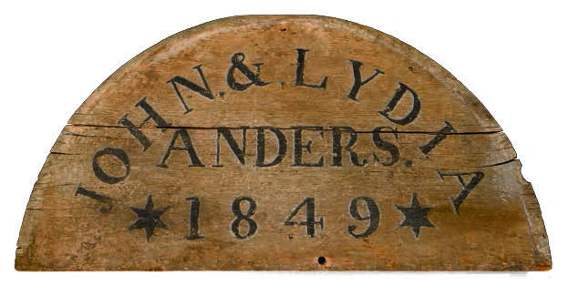 Figure 20: This semi-circular house blessing board was salvaged from the upper gable end of a stone farmhouse built for John and Lydia Anders in 1849, and originally located near Towamencin, in Lower Salford Township, Montgomery County. Courtesy of the Schwenkfelder Library and Heritage Center. Glencairn Museum staff photo.