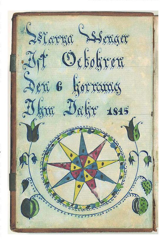 "Figure 24: Bookplate and Birth Record for Marya Wenger, FFLP B-125, Rare Book Department, Free Library of Philadelphia.  This highly embellished bookplate commemorates the birth of Marya Wenger on ""the 6th of February, in the year 1845."" A nine-pointed star, hand-painted in alternating shades of red, yellow, and blue, is enwrapped in a floral vine. This illuminated inscription was pasted onto the inside cover of Marya Wenger's New Testament, printed by Scheffer & Beck of Harrisburg in 1848. Testaments and prayer books are among the most personalized religious items, strengthening their role as tools of daily devotions."