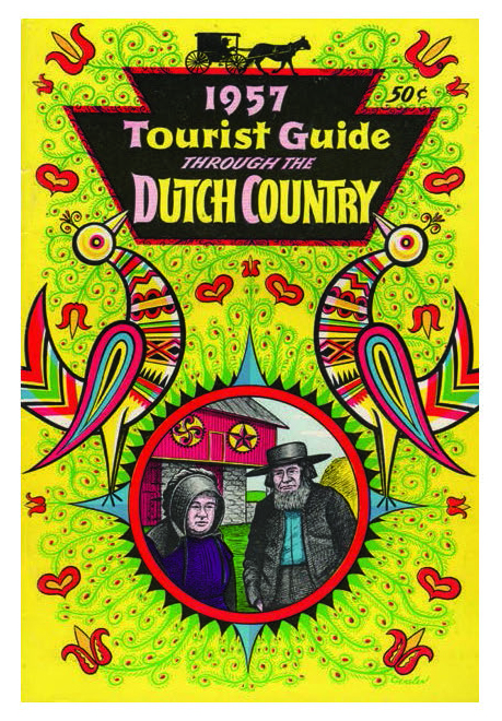 Figure 41: The Pennsylvania Dutch Folklore Center, Franklin and Marshall College, later known as the Pennsylvania Folklife Society, founded the Kutztown Folk Festival in 1950, and issued some of the region's first tourist guides that included scholarly photo essays on different aspects of the culture. However, the lavishly illustrated covers of these guides perpetuated a misconception that the Amish painted barn stars. In fact, the reason that barn stars are largely absent from Lancaster County is because the Amish do not decorate their barns as part of their religious commitment to plain living. Pennsylvania German Cultural Heritage Center, Kutztown University.