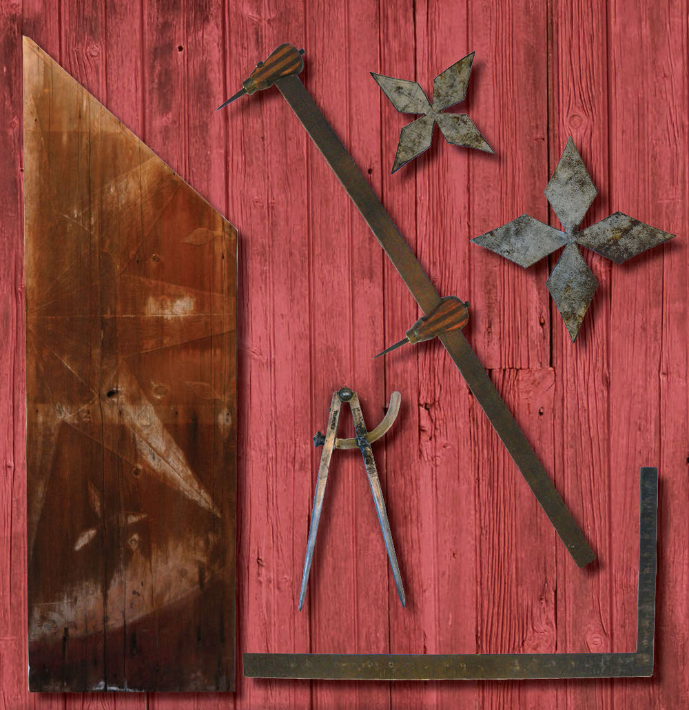 "Figure 48: Tools of the Trade (clockwise from the top left):  A fragment of old wooden barn siding showing a weathered barn star ""ghost"" with a relief created overtime by solar weathering. Weathered stars serve as templates for painters restoring old barns in the region. Courtesy of the Kutztown Folk Festival.  A trammel or bar compass, used to create the geometric layout of a barn star; a pair of patterns used to create the cross motifs between star points on Berks County barn stars; a square for creating right angles in the geometric layout of a star; the compass dividers used by the prolific barn star artist Milton J. Hill (1887-1972) of Virginville, Berks County. Gift of Harold and Esther (Hill) Derr, daughter of Milton Hill, Pennsylvania German Cultural Heritage Center, Kutztown University."