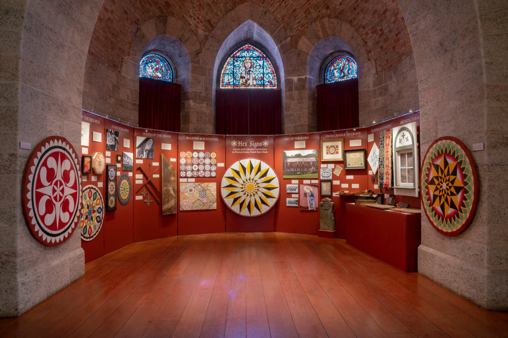 Hex Signs: Sacred and Celestial Symbolism in Pennsylvania Dutch Barn Stars , an exhibition in Glencairn's Upper Hall.