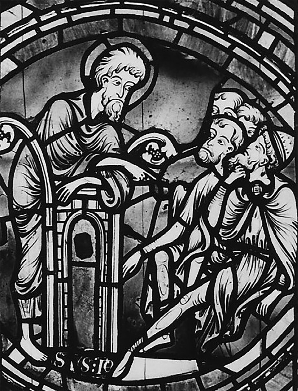 """Figure 4: Saint John the Baptist preaching, a panel from a John the Baptist window of the nave aisle at Rouen Cathedral, now installed among other reused panels in the """"Belle Verriére"""" of a nave chapel illustrated in Figure 5. This is the best-known work of the John the Baptist Master, whose workshop also painted the Seven Sleepers window."""