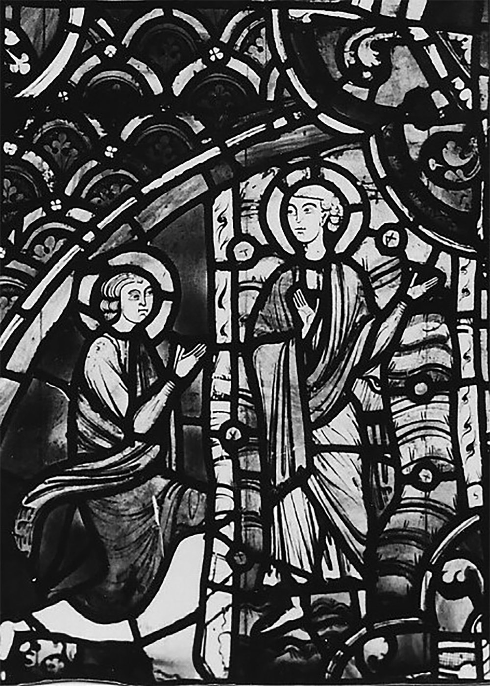 "Figure 10: Scene from the John the Evangelist window of Rouen Cathedral, c. 1240-1245, now installed in the ""Belle Verriére"" of the Chapel of Saint-Jean-de-la-nef in Figure 5."