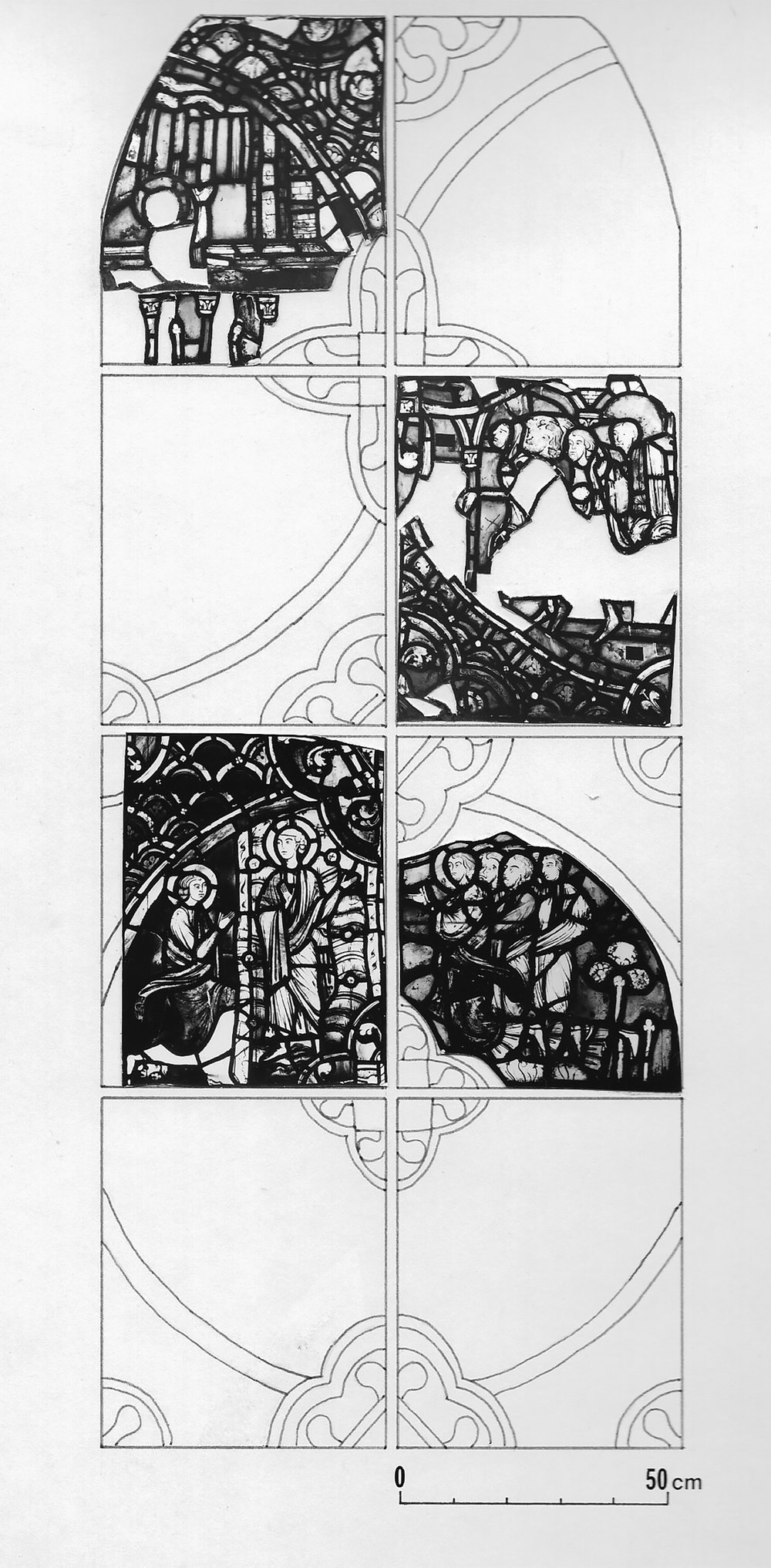 Figure 11: Reconstruction of the upper four registers of the John Evangelist window of Rouen Cathedral, including the figural core of the panel in Figure 9.