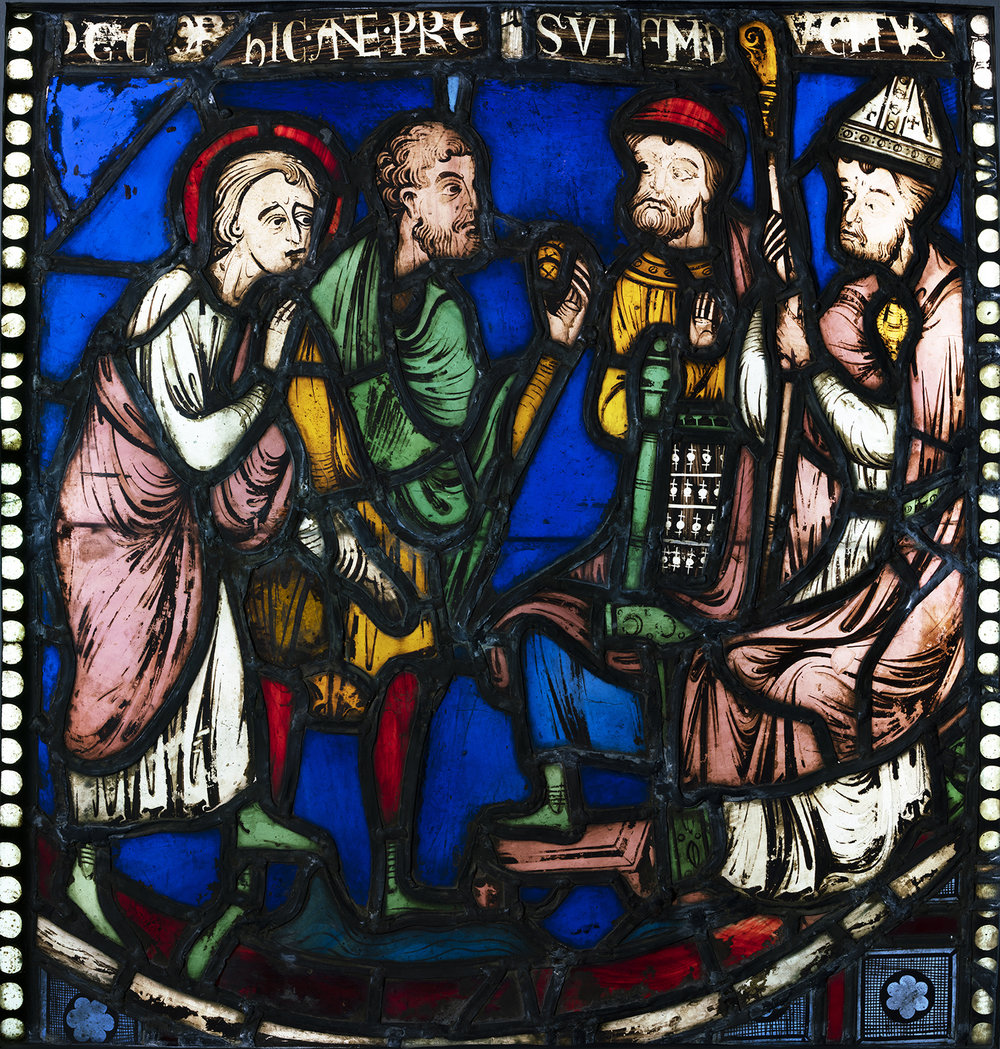 """Figure 8: Malchus is led before the bishop and prefect ("""" hic ante presulum ducitur """"), from the Seven Sleepers of Ephesus window of the nave aisle of Rouen Cathedral, c. 1200-1203, now in Glencairn Museum (03.SG.51)."""