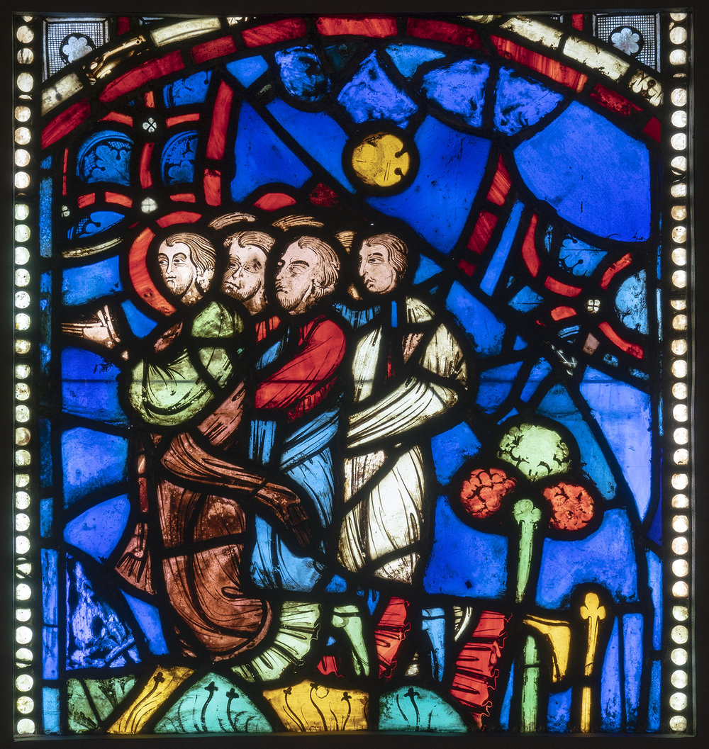 Figure 9: Seven Kneelers (probably apostles), from the John the Evangelist window of Rouen Cathedral, c. 1240-1245, now in Glencairn Museum (03.SG.52).