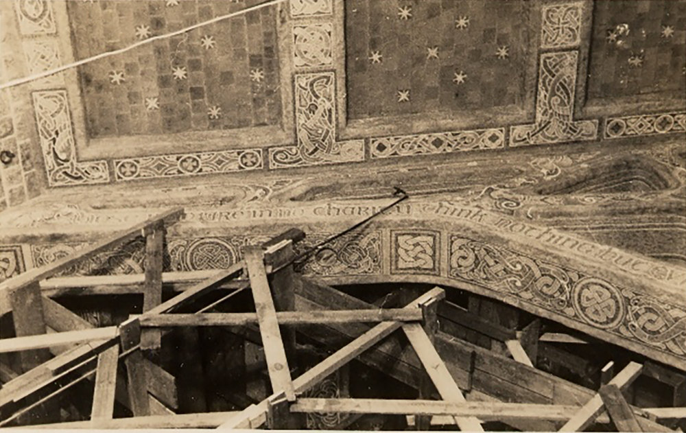 Figure 1: The ceiling of Glencairn's Great Hall with scaffolding in the 1930s.
