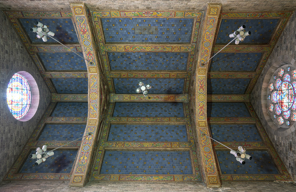 Figure 2: The trusses, beams, and recessed spaces on the ceiling of the Great Hall were all decorated.