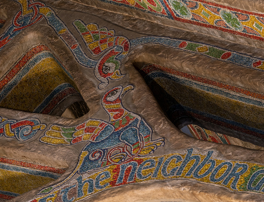 Figure 3: The ceiling decoration was inspired by the Book of Kells.