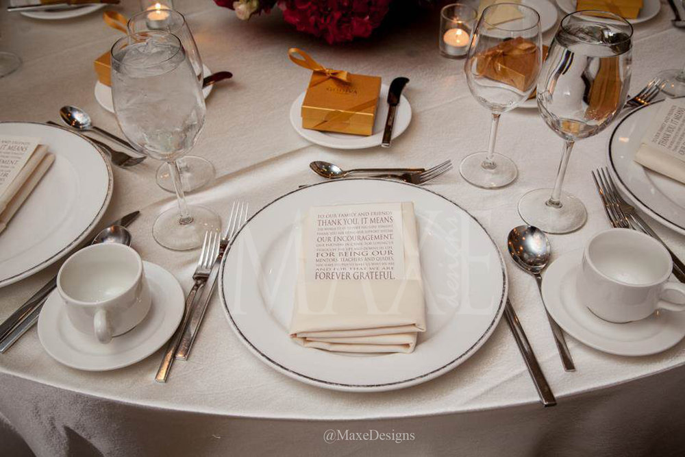 Natalie & Jake thanked their guest individually with their custom thank you notes tucked nicely in their dinner napkins.