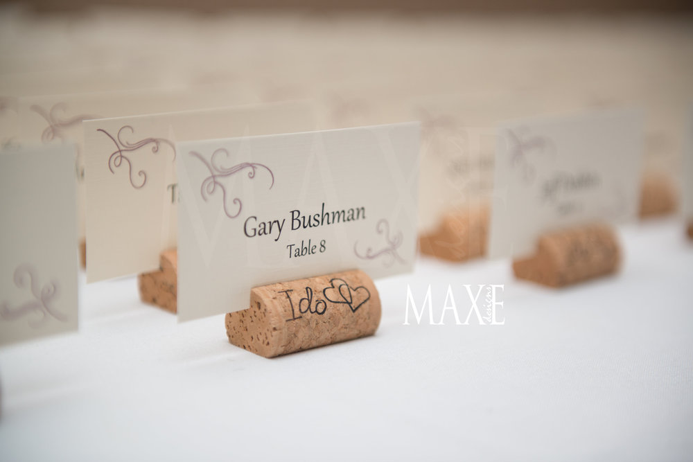 Samantha & Nick's wine cork escort card favors were a hit!