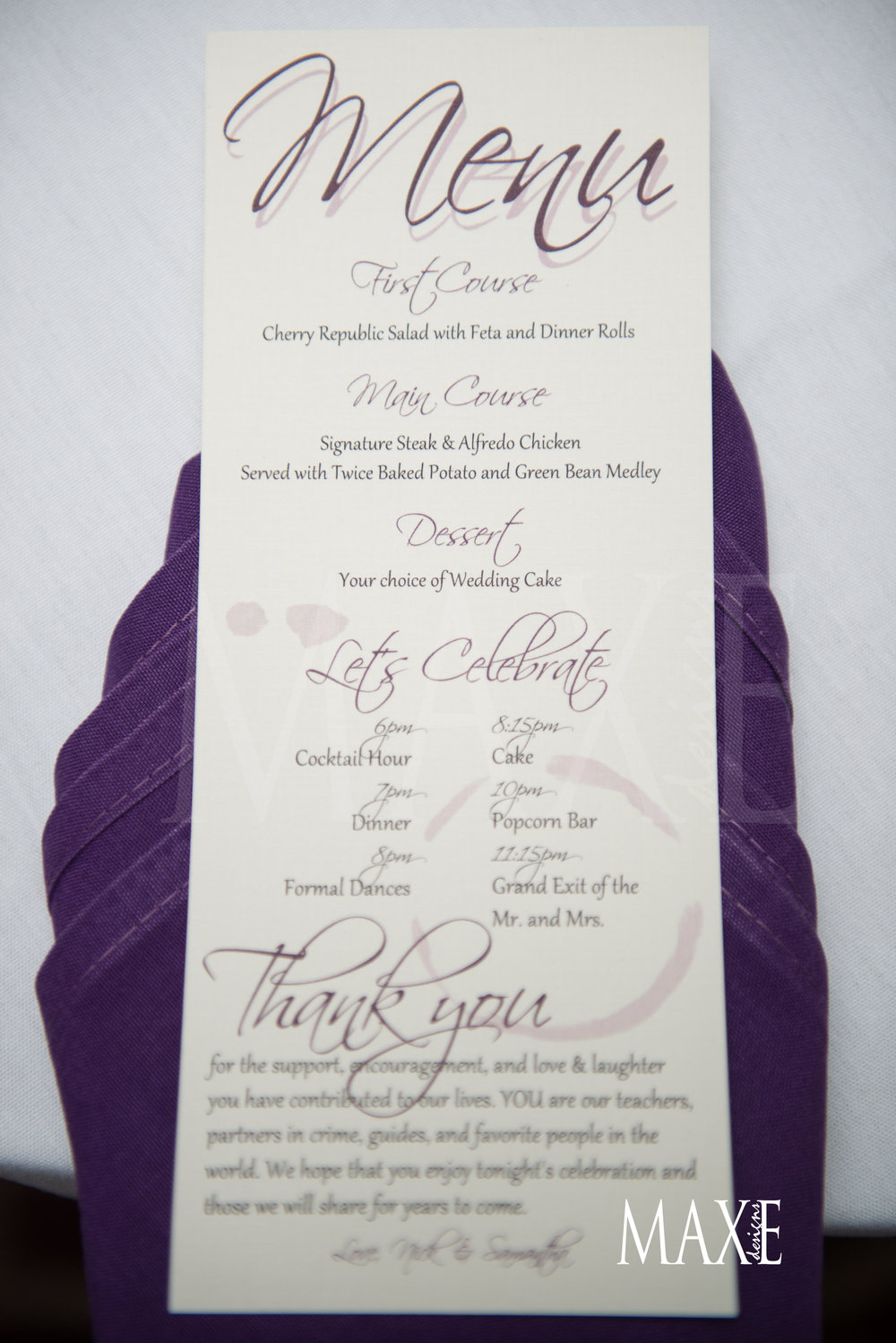 What a yummy wedding reception menu which included a timeline of the evenings events!