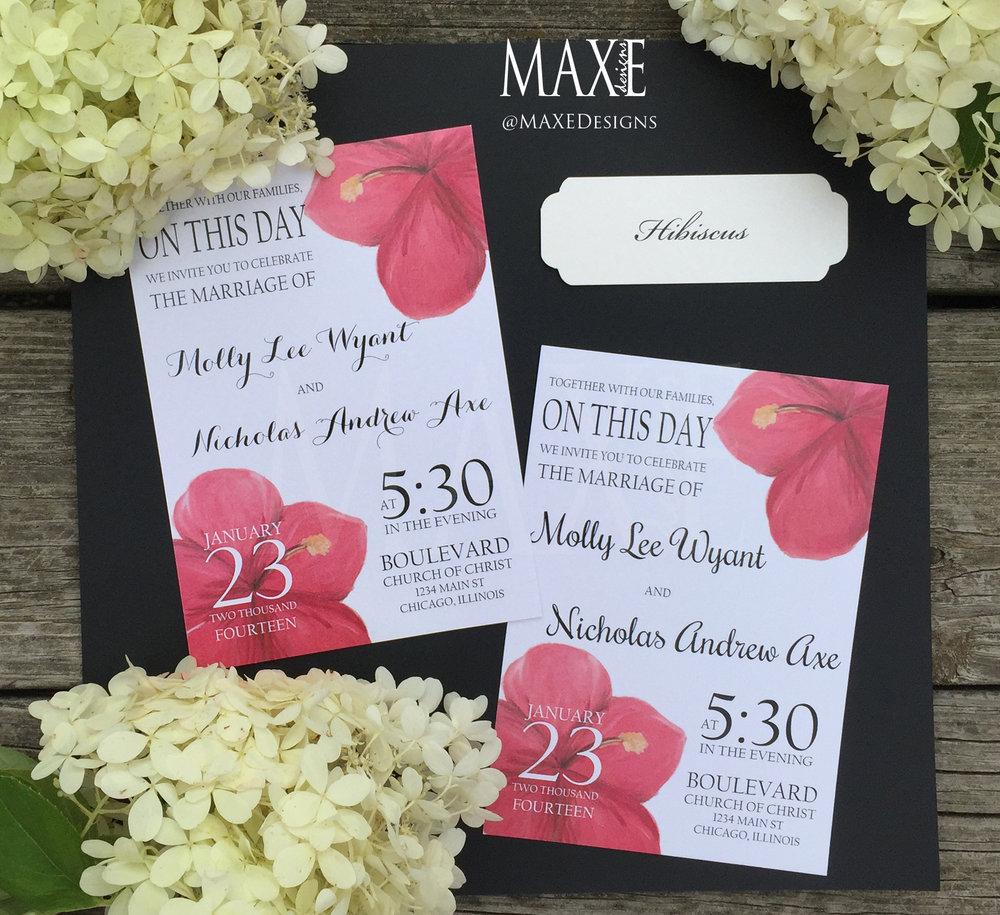 Custom Hibiscus Wedding Invitation Suite Deposit Maxe Designs