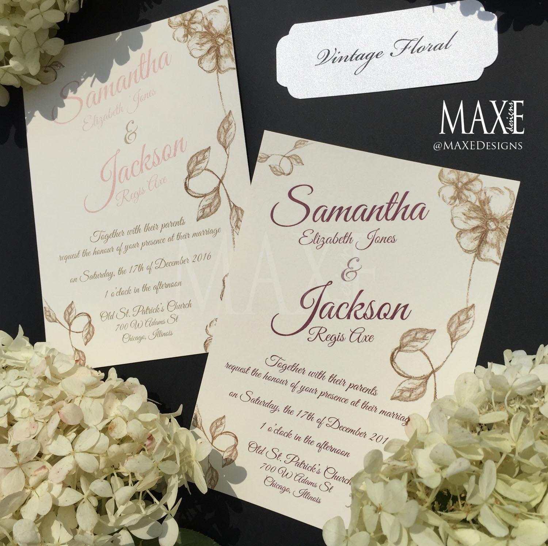 Vintage Floral Wedding Invitation Suite - Deposit — MAXE Designs LLC