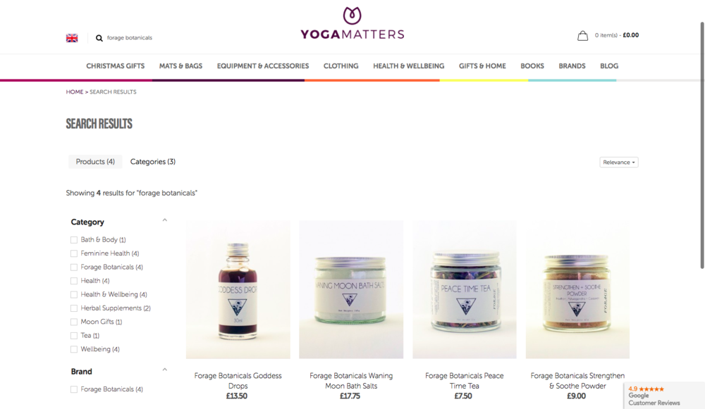 Buy Now - View a limited range of products from our online stockist Yogamatters. Full range due out in Spring 2019.