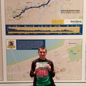 Dorky photo. Bib 119 for the 119th Boston Marathon