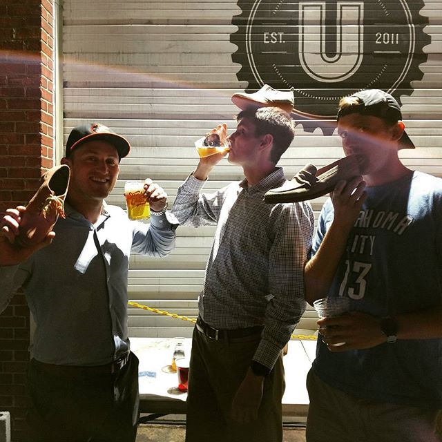 Raising a few dollars for Living Classrooms at Union Brewing!  How's that shoe tasting, Sean?