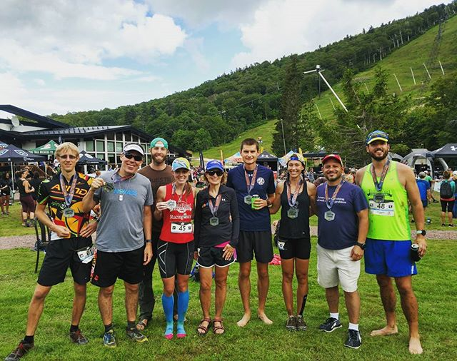 Oooof! Tough course up at the @uarunning Killington 50k. We had a big @fallsroadrun  and Baltimore Road Runners Club crew make the. @megd5188 and I bagged first place non-podium. I'll take that for 72 days post-op. @thomrip hiked his first 50k while winning the competitive eating division, Erin finished 5th, and Stas held on for 6th. And a bunch of old people ran the half marathon, which was equally brutal... Mud, mountains and stupidly steep grades. Lots of 15 minute miles for all of us! No injuries and the beer is cold - what more do you want?? #uamtnrunning